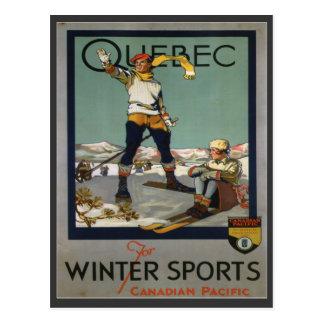 Vintage Ski Poster,  Quebec Post Card
