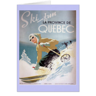 Vintage Ski poster,  Quebec, winter wonderland Card