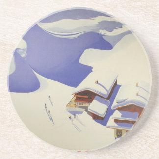 Vintage Ski Poster, Ski Austria Coasters
