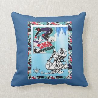 Vintage ski poster, Ski Colorado Throw Pillow