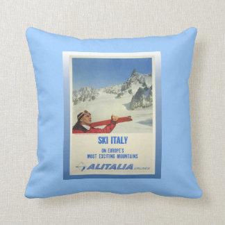 Vintage Ski Poster, Ski Italy, Alitalia Throw Pillow