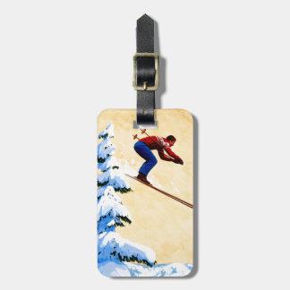 Vintage Ski Poster, Ski jumper and pine trees Luggage Tag