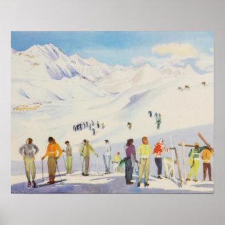 Vintage ski poster,   Skiers on the mountain Poster