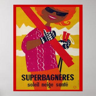 Vintage ski poster, Superbagneres Poster