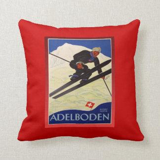 Vintage Ski Poster, Switzerland, Adelboden Throw Pillow