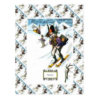 Vintage Ski Scene, Downhill skiing Postcard