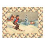 Vintage Ski Scene, Starting young Postcard