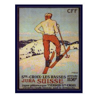 Vintage Ski, St Croix les rasses, Jura Suisse Postcard