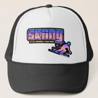 Vintage Ski Style Dark Trucker Hat