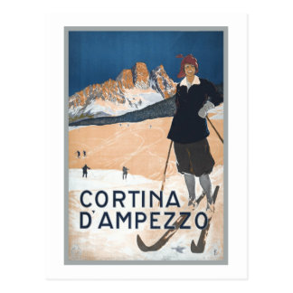 Vintage Ski Travel ad Cortina d'Ampezzo Postcard
