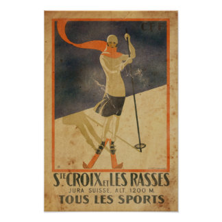 Vintage Skiing Art Deco style poster
