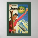 Vintage Skiing in Switzerland Poster