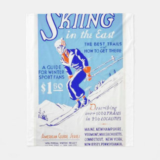 Vintage Skiing in the East WPA Poster Fleece Blanket