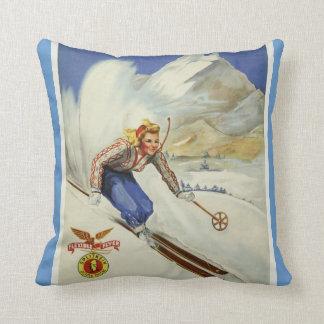 Vintage Skiing Travel Art Throw Pillow