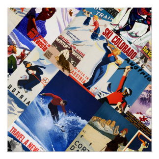 Vintage Skiing Travel posters collage poster