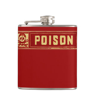 Vintage Skull and Crossbones Poison Label Hip Flask