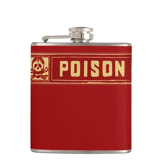 Vintage Skull and Crossbones Poison Label Hip Flask