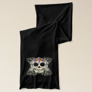 Vintage Skull and Flowers Scarf
