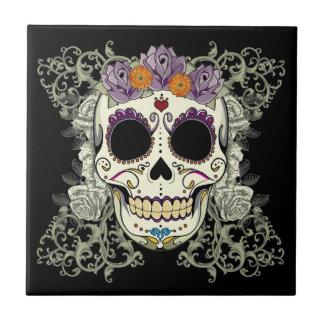 Vintage Skull and Flowers Tile