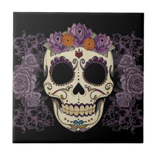 Vintage Skull and Roses Tile