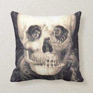 Vintage Skull Optical Illusion Black/White Pillow