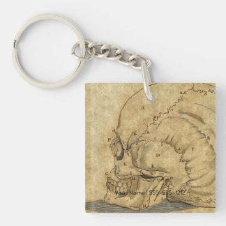 Vintage Skull Profile Engraving Lettered Keychain