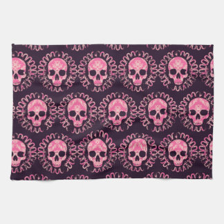 Vintage Skulls Pink and Purple Kitchen Towel