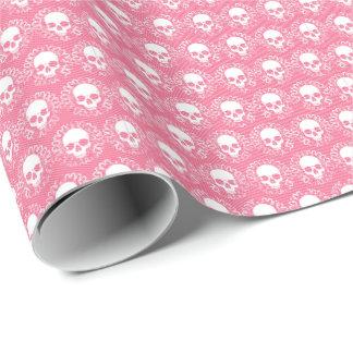 Vintage Skulls Pink Stripes Wrapping Paper