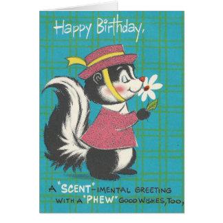 Vintage Skunk Happy Birthday Card
