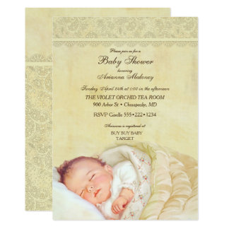 Vintage Sleeping Baby Soft Pastel Yellow Lace Card