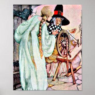 Vintage Sleeping Beauty Briar Rose Illustration Poster
