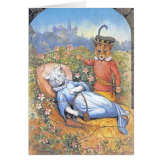 Vintage Sleeping Beauty Cat Card