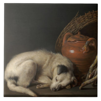 Vintage Sleeping Dog by Gerrit Dou Tile