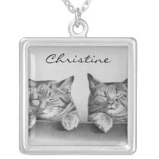 Vintage Sleepy Cats Square Pendant Necklace