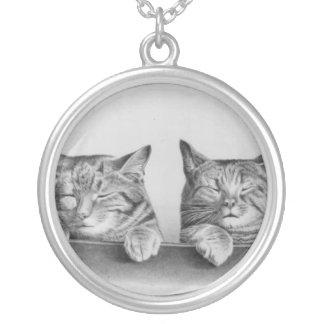 Vintage Sleepy Cats Round Pendant Necklace