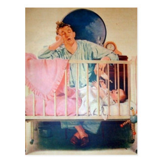 Vintage Sleepy Dad Postcard