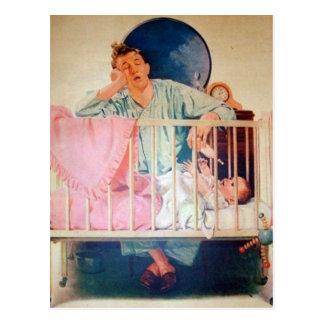 Vintage Sleepy Dad Postcard