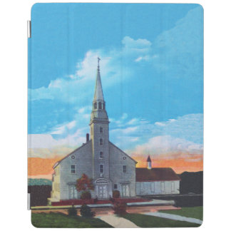 Vintage Small Town White Christian Church iPad Cover