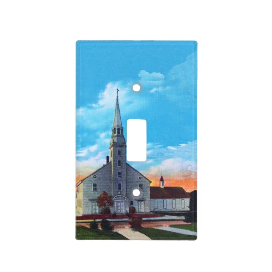 Vintage Small Town White Christian Church Light Switch Cover