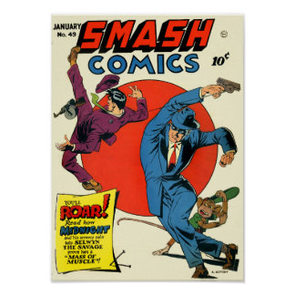 Vintage Smash Comics Superhero Crime Fighter Poster