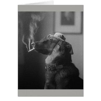 Vintage Smoking Dog, Card