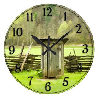 Vintage Smoky Mountains Outhouse Travel Photo Large Clock