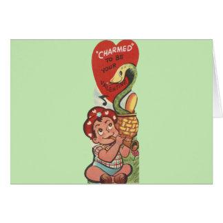 Vintage Snake Charmer Valentine Card