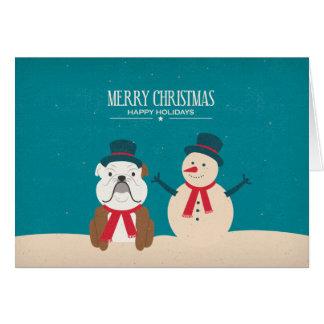 Vintage SNORT Bulldog Christmas Card