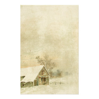 Vintage Snow Barn in Winter Background Stationery