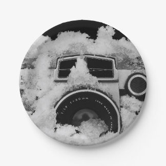Vintage Snow Covered Black and White Camera Paper Plate
