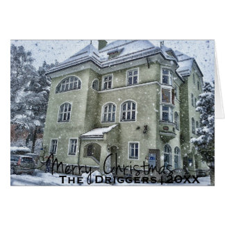 Vintage Snow Covered Building Personalized X-Mas Card