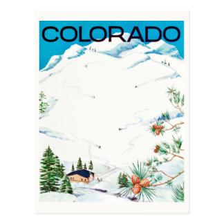 Vintage Snow-Covered Mountains Colorado Travel Postcard