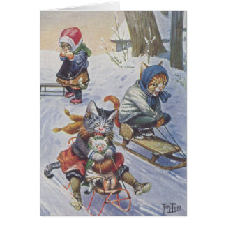 Vintage - Snow Sledding Cats, Card