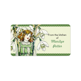 Vintage Snowdrop Girl Floral From the Kitchen Of Label